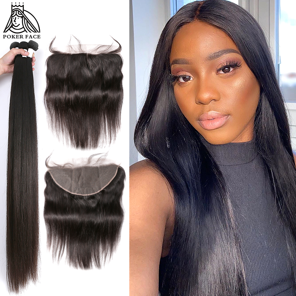 Poker Face 28 30 40 Inch Peruvian Hair Weave 3 4 Bundles With 13x4 Lace Frontal And Closure Remy Straight Human Hair Extension