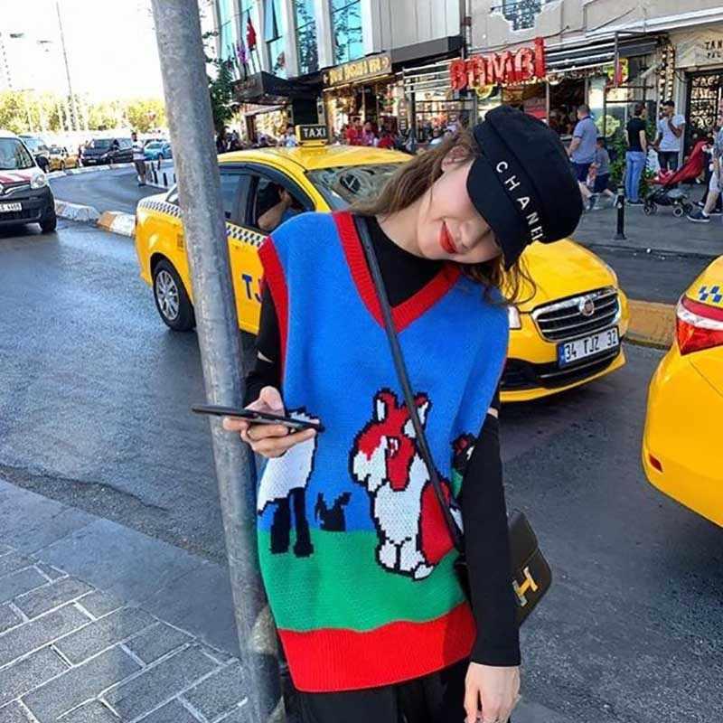 Abdeckt Garn Frauen Ärmellose Pullover Herbst 2019 Japanischen Kawaii Cartoon Tiere V-ausschnitt Gestrickten Pullover Weste Blau Rosa