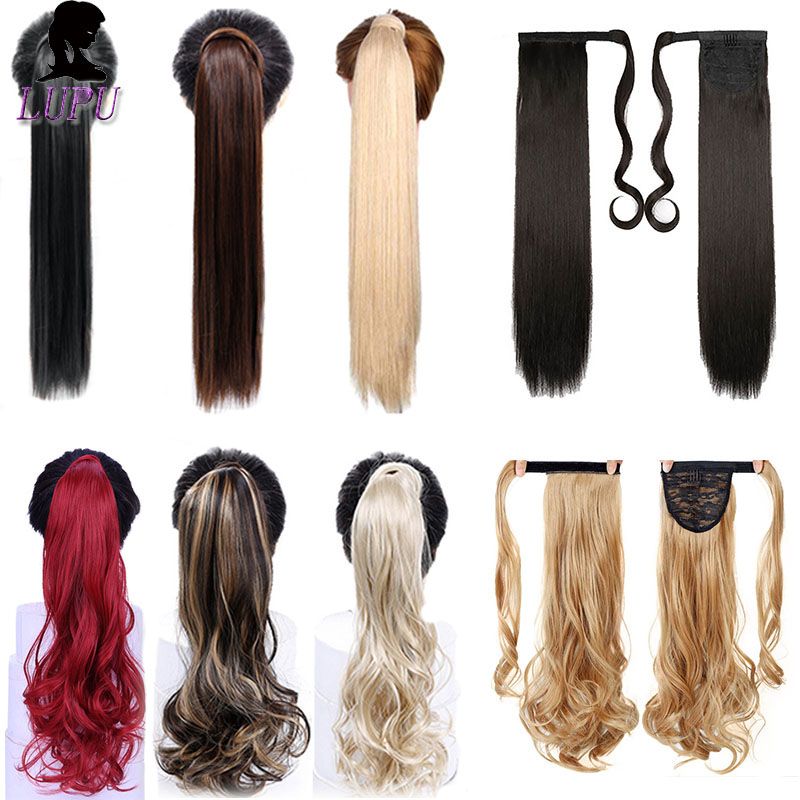 LUPU 24 Inches Long Curly Wrap Around Ponytail Clip In Synthetic Hair Extension Flase Hair Piece Heat Resistant Fiber For Women