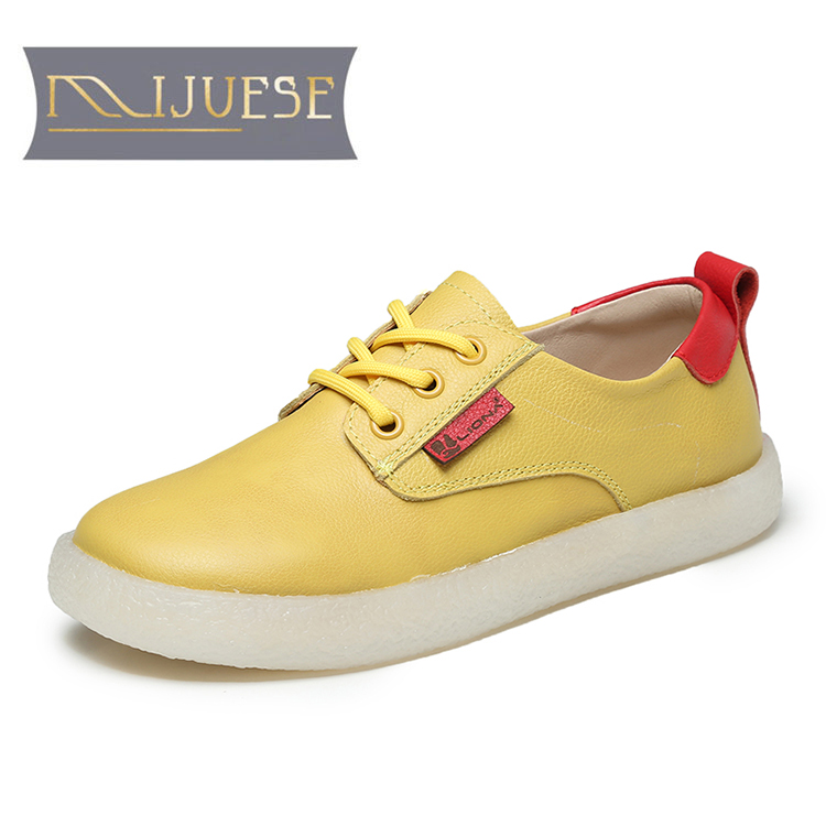 MLJUESE 2021 Women Pumps Soft Cow Leather Autumn Spring Lace Up Vintage Yellow Color Round toe High heels pumps Lofers Size 43