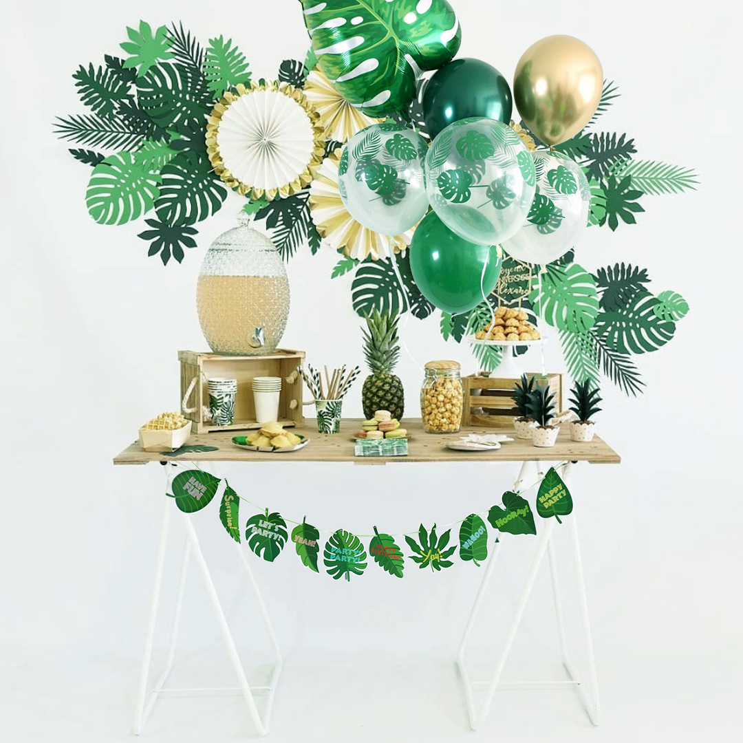 Green Palm Leaf Balloon Jungle Theme Party Decoration Safari Birthday Party Decoration Tableware For Hawaii Party Supplies