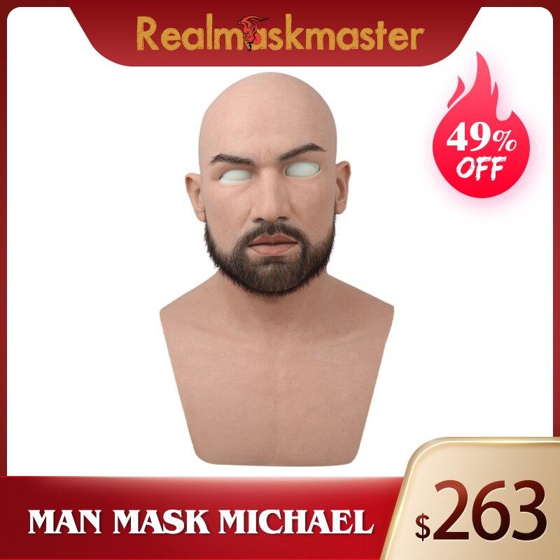 Realmaskmaster mâle latex réaliste adulte silicone masque complet pour homme cosplay fête masque fétiche vraie peau