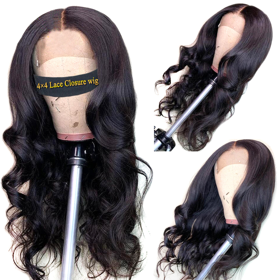 Closure Wig Human Hair Wigs Body Wave Closure Wig Peruvian Human Hair With Pre Plucked 4x4 Lace Closure Wig Non Remy