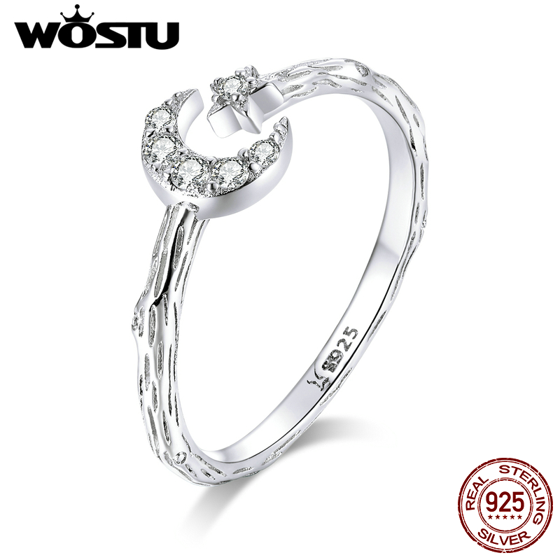 WOSTU Genuine 925 Sterling Silver Moon & Star Rings Adjustable Size Finger Clear Zircon Wedding Ring Fashion Jewelry CQR638