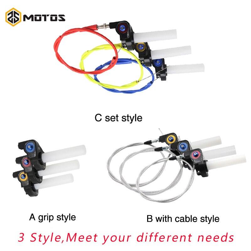 ZS MOTOS Throttle Grip Twist Quick Turn Throttle Handle Grip+Cable Fit Dirt Pit Bike Motocross Handlebar Hand Grips KTM CRF