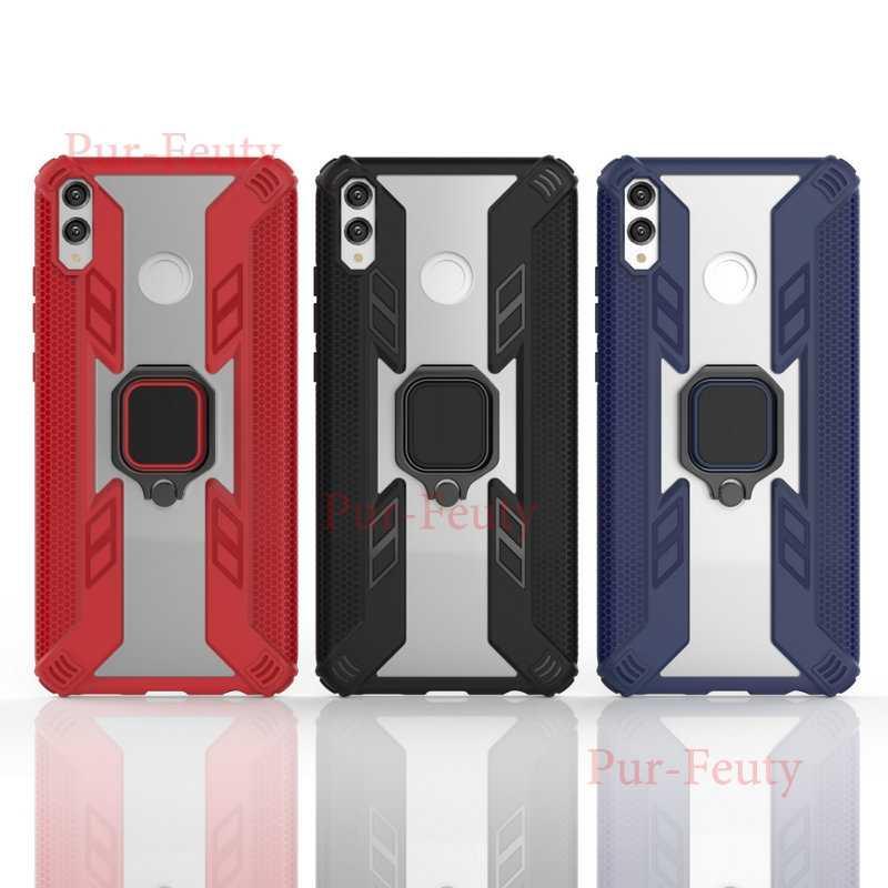 Per il caso di Huawei Honor X8 8 X JSN L21 L22 L23 Del Silicone Armatura Del Respingente Antiurto Anello di Metallo Della Copertura posteriore per honor 8X JSN-L21 JSN-L22