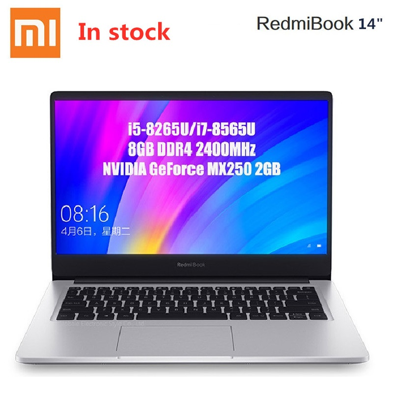 Xiaomi RedmiBook ordinateur portable 14 ''Intel Core i7-8565U NVIDIA GeForce MX250 Quad Core 8GB RAM 512GB SSD Notebook 1920x1080 (FHD)