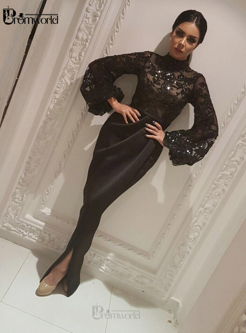 Black Mermaid Evening Dresses Long 2020 Glittering Sequin Lace Slit High Collar Dubai Arabic Long Sleeve Muslim Formal Gown Prom