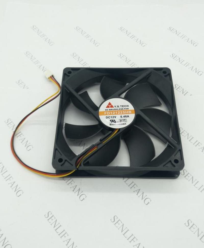 For FD121225HB Big Air Cooling Fan DC 12V 0.46A 2600RPM 12025 120*120*25mm 3 Wires