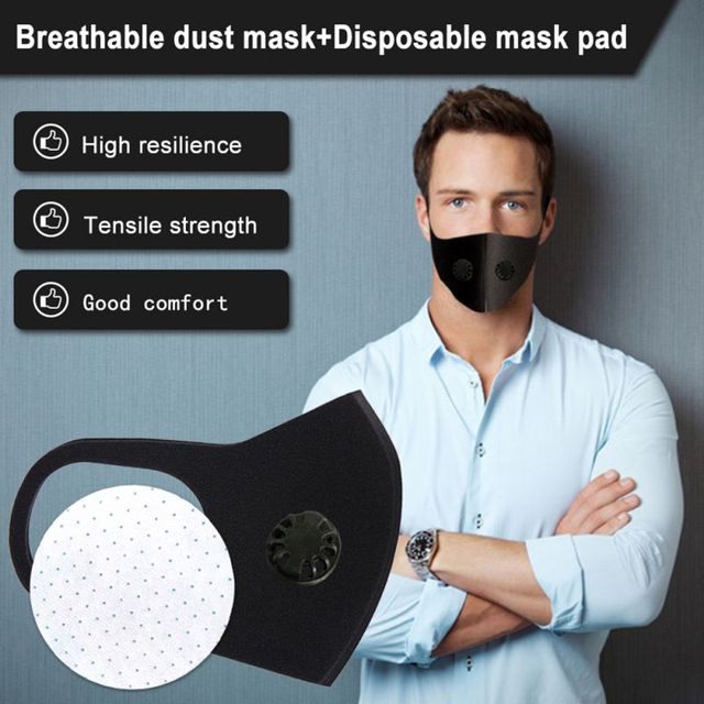 Black Double Valve mouth Mask anti dust mask Activated carbon filter Windproof Mouth-muffle proof Flu Face masks Care