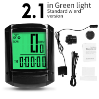 2.1 Green-Wired-INBIKE Waterproof Bicycle LED Digital Rate Wireless/Wired MTB Bike Odometer Stopwatch Speedometer