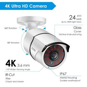 Image 3 - ZOSI 4K 8CH Ultra HD Camera Quan Sát Hệ Thống H.265 + Đầu Ghi Hình Với Bộ 2TB HDD 8 Cái 8MP TVI Ngoài Trời Video Gia Đình An Ninh Hệ Thống Giám Sát