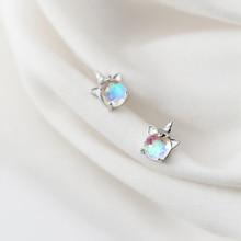 925 Sterling Silver Korea Style Clean CZ Unicorn Cute Stud Earrings For Fashion Women Girls Silver Fine Jewelry Gift G2620 стоимость