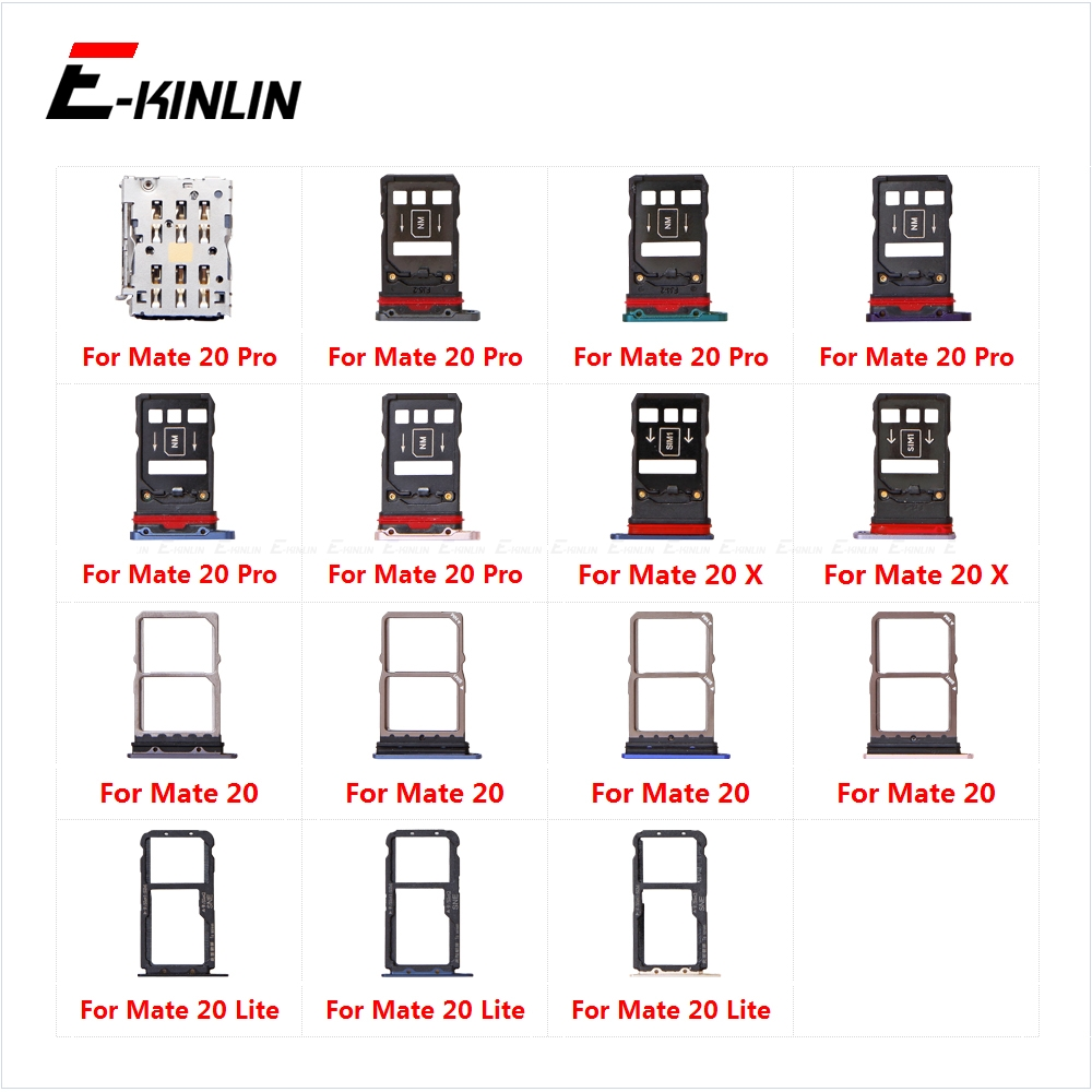 Micro SD Sim Card Tray Socket Slot Adapter Connector Reader For HuaWei Mate 20 Pro X 20X Lite Container Holder Replacement Parts