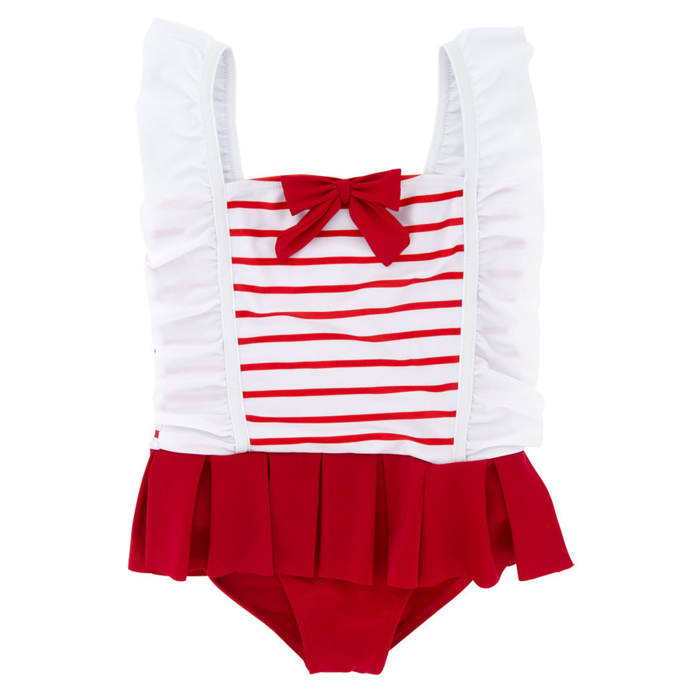 Babies' One-piece Swimsuit 2019 New Style Children GIRL'S Baby Stripes Cute CHILDREN'S Swimwear