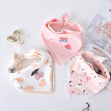 Hot Selling Cotton Baby Bibs Lace Cartoon Floral Princess Feeding Bandana Bibs Cute Newborn Boy Girl Burp Cloths Infant Stuff(China)