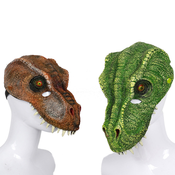 Gomma Piuma DELL'UNITÀ di elaborazione Mezza Viso Masquerade Cosplay Dinosauro Animale Maschera di Morbido di Halloween Divertente 3D maschera Dinosauro Tyrannosaurus Rex maschera