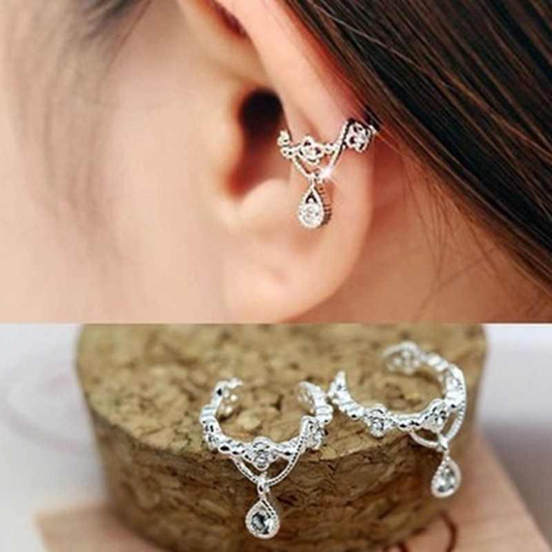 Vintage moda sin piercing oreja Clip para mujeres Punk personalidad cristal pendientes envolver el brazalete Brincos