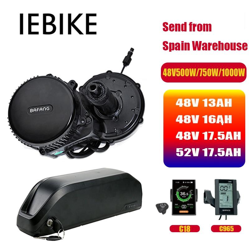 48V 1000W Bafang Motor BBSHD BBS03B Elektrische Fahrrad Conversion Kit mit Batterie 48V 13/16AH 52v 17.5ah Ebike Mitte Antrieb Motor