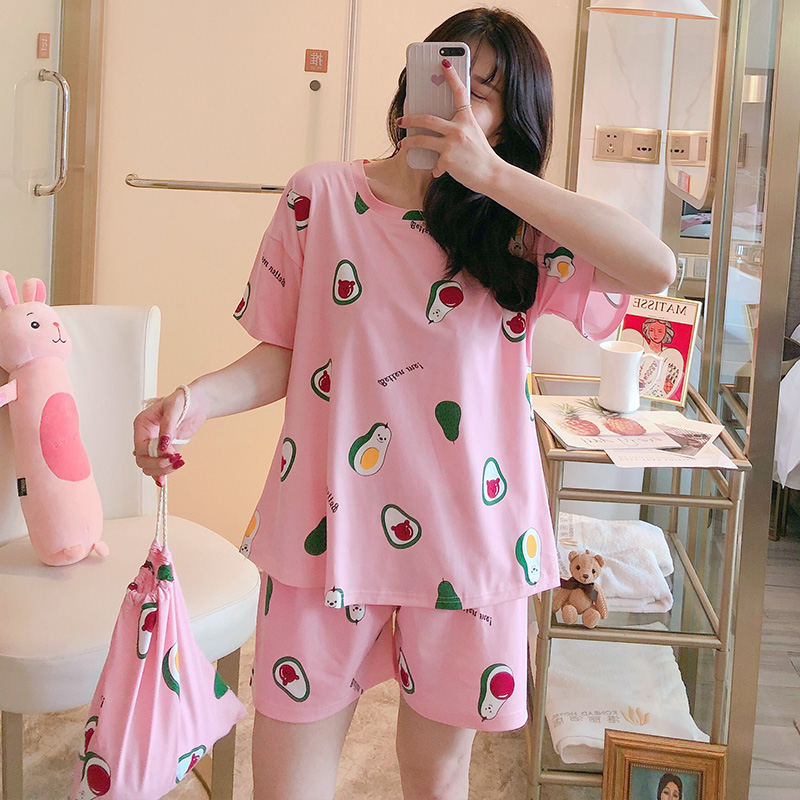 2020 Summer New Stylish Pajamas For Women Short Sleeve 2 Pcs Good Quality Cotton Made Comfortable Pyjamas Sleepwear For Girls