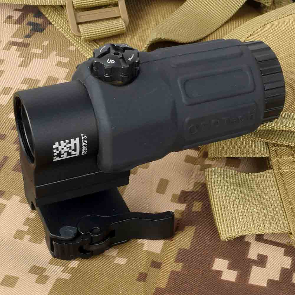 G33 Airsoft 3X Magnifier With Switch To Side Quick Detachable QD Mount For Hunting Black Sand And Red Color