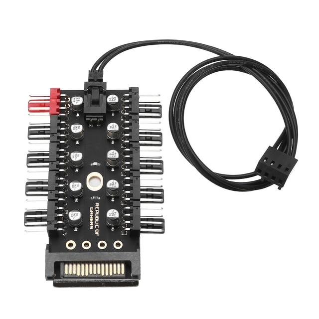 מחשב 1 כדי 10 4Pin קירור אוהדי רכזת ספליטר כבל 12V PWM LED Sata כוח Suppply מתאם מהירות בקר עבור מחשב כרייה