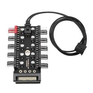 Image 1 - Adaptateur dalimentation pour ventilateurs de refroidissement, PC 1 à 10 4 broches, contrôleur de vitesse, pour ordinateur minière, 12V, PWM LED Sata