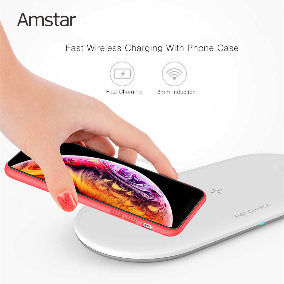 Amstar 3 ב 1 אלחוטי מטען עבור Airpods אפל שעון 5 4 3 2 iWatch 10W מהיר אלחוטי טעינה pad עבור iPhone 11 פרו מקס XS X