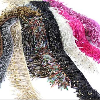 4Yards Sequins Handmade DIY Hanging Beads Caterpillars Lace Trim Tassel Fringe Ribbon Stage Clothing Curtain Wedding Accessories