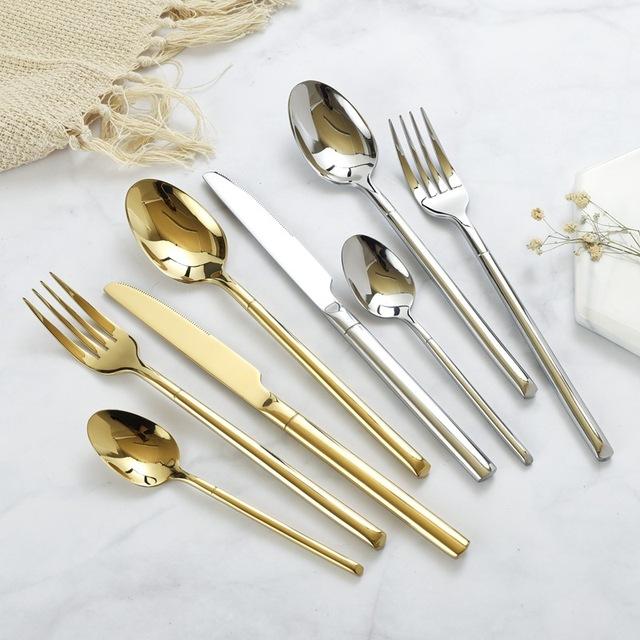 24pcs/set Cutlery Dinnerware Set Cubiertos Rainbow Silverware Set Dinner Fork Tea Spoon Kitchen Service Knife Set Dropshipping