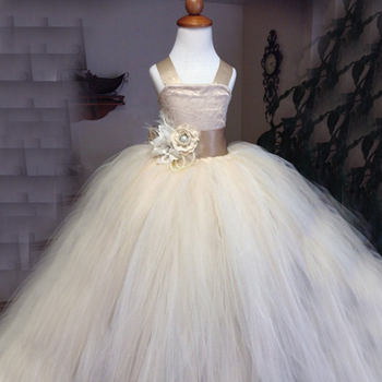 Champagne Lace Tulle Flower Girl Dress Junior Bridesmaid Dress Crossed Straps Girls Pageant Princess Kids Baby Prom Ball Gowns