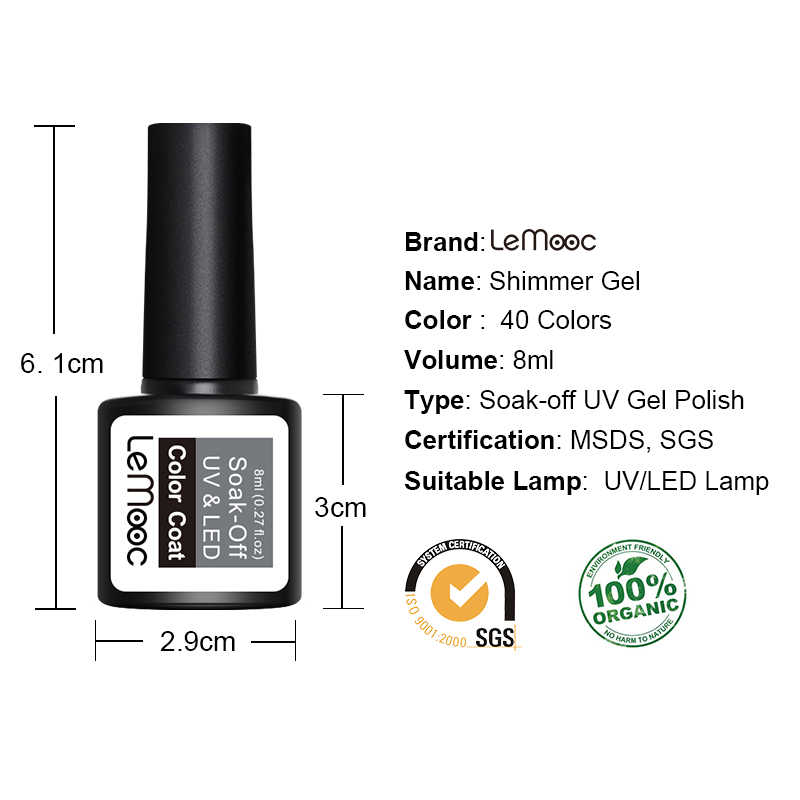 Lemooc 8 Ml Uv Gel Nagellak Losweken Uv Gel Paarse Kleur Set Shiny Glitter Pailletten Nagellak Vernis art Varnish