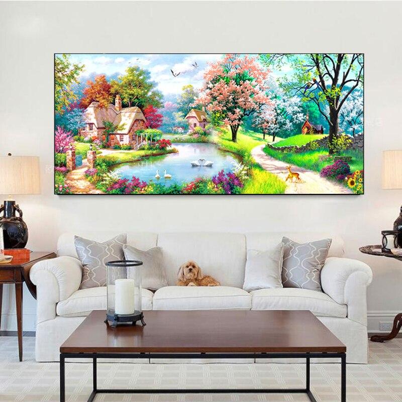 5D bricolage diamant peinture plein rond paysage rêve maison jardin cottage point de croix mosaïque broderie cadeau pour la décoration intérieure