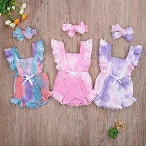 幼児夏の服少年少女ノースリーブネクタイ染色ロンパースリブ服