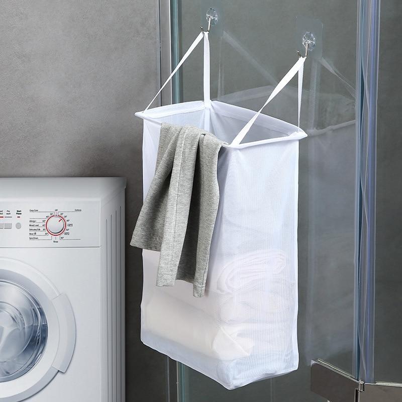 Weiß Wand Kleiderbügel Wäsche Korb Wc Verbundene Schmutzige Kleidung Lagerung Korb Bad Einfache Wäsche Korb-in Wäschekörbe aus Heim und Garten bei title=