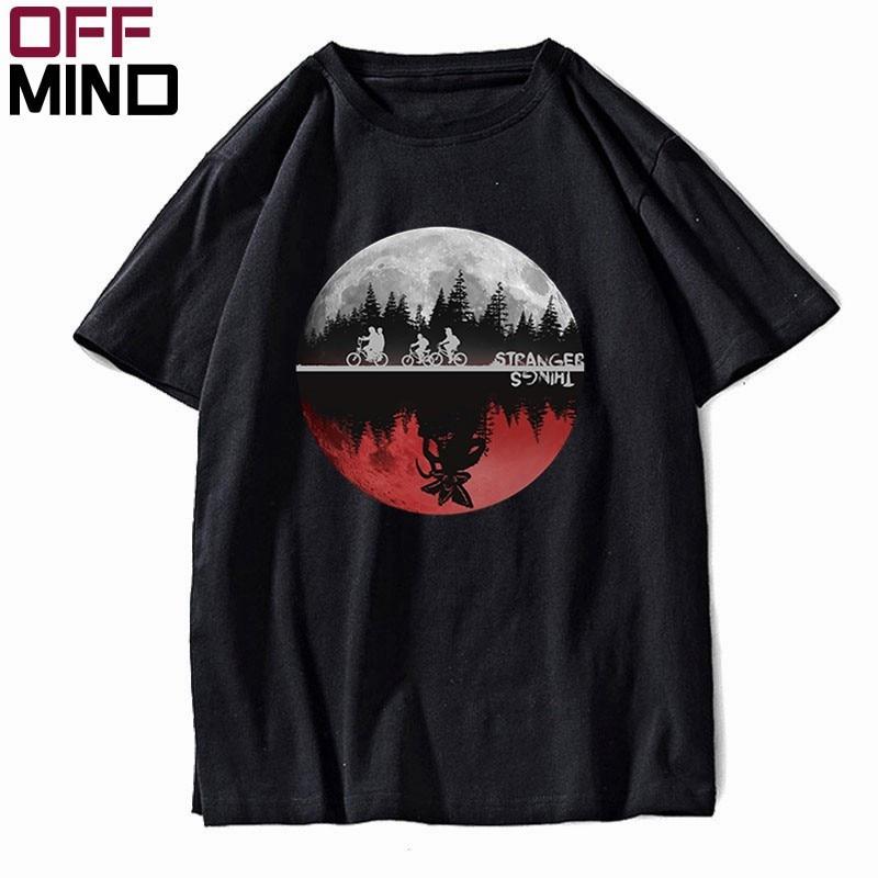 OFF MIND 100% Cotton Summer Loose Stranger Things Men T Shirt Casual O-neck Cool Men Tshirt Short Sleeve T-shirt Men Tee Shirt