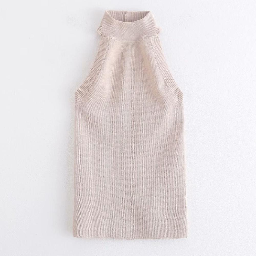 New Fashion Women Solid Color Sleeveless Halter Thin Sweater Ladies Basic Knitted Sweaters Female Sexy Backless Chic Tops S244