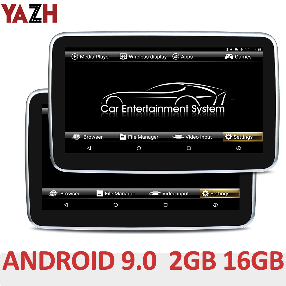 "YAZH 10.1"" <font><b>IPS</b></font> 2GB 16GB Car Headrest Monitor With Android 9.0 Pie 1920*1080 HD 4K Video FM Transmitter Bluetooth <font><b>HDMI</b></font> In AV In image"