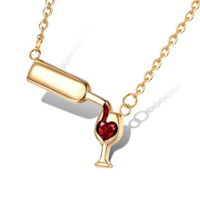 Personality Design Hot New Women Love Red Wine Bottle Cup Necklace Fashion Clavicle Chain