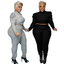Women Clothing Two-Piece-Set Tracksuit Outfits Pants-Sets Long-Sleeve Ribbed Wholesale