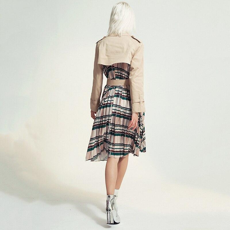 [EAM] Women Belt Pleated Hit Color Trench New Lapel Long Sleeve Loose Fit Windbreaker Fashion Tide Autumn Winter 19 1B096 16