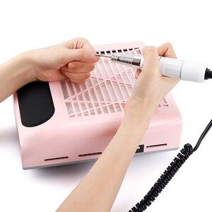 Image 5 - 80w prego poeira sucção coletor ventilador aspirador de pó manicure máquina ferramentas forte potência ventilador do prego arte manicure salão beleza ferramentas