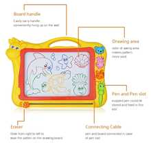 Magnetic Drawing Board,Drawing Area Colorful Magna Drawing Doodle Board,With 3x Stamps, 1x Magnetic Pen,Yellow - DISCOUNT ITEM  41% OFF All Category