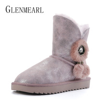 High Quality Women Snow Boots Genuine Leather Cowhide Real Fur Winter Shoes Warm Australia Classic Woman Boots Platform Plus Siz free shipping australia classic nature wool real sheepskin leather snow boots for women winter shoes high quality special offer