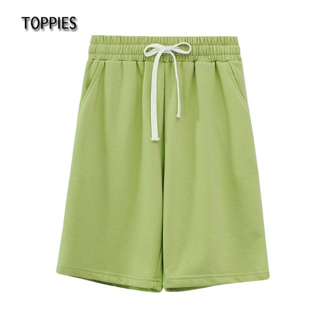 Toppies Summer Shorts Women High Waist Shorts 2021 short femme Solid Color Side Pockets Casual Streetwear 1