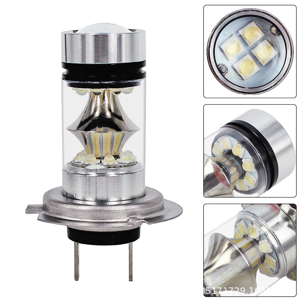 Car <font><b>LED</b></font> High-Power Fog Lamp <font><b>H7</b></font> Sharp 2828 20SMD <font><b>100</b></font> <font><b>W</b></font> Double Cone Highlight Fog Lamp Headlight image
