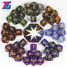 Купить с кэшбэком T&G Creative Universe Galaxy Dice Set of D4-D20 with Mysterious Royal Blue Mix Black,Glitter Powder Amazing Effect for TRPG,DND