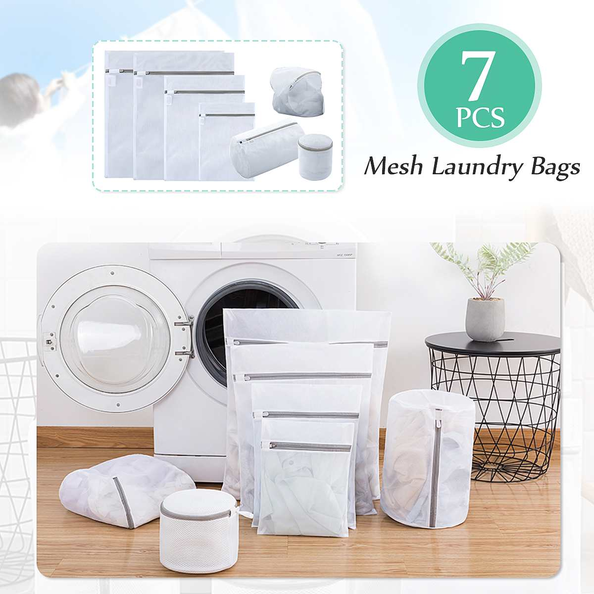 7Pcs/set Thicken Clothes Washing Machine Laundry Bag Tote T-Shirt Underwear Socks Clothes Lingerie Mesh Net Zipper Storage
