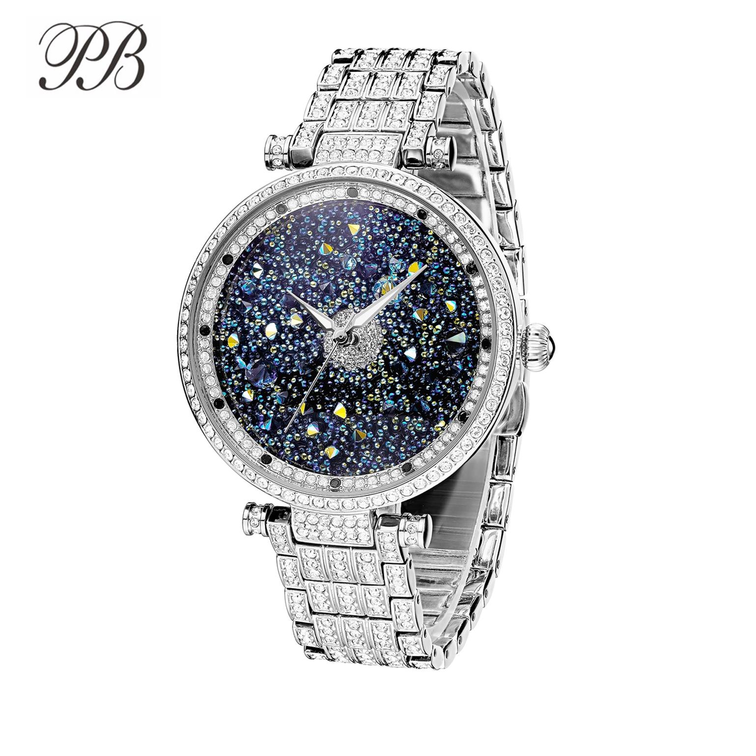 PB Women Watches Luxury Starry Sky Watch Rhinestone Crystal Waterproof Quartz  Silver&Rose Gold Watch Women Reloj Mujer