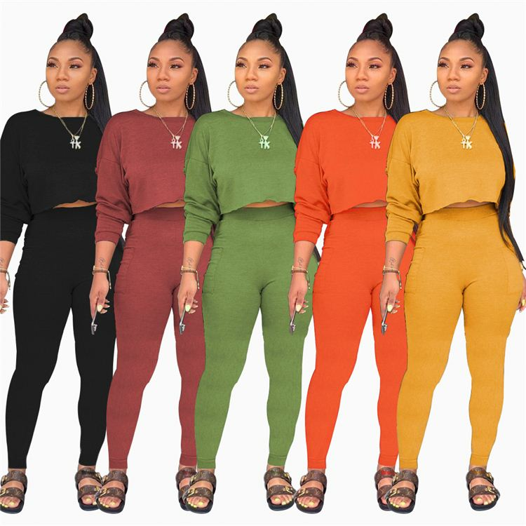 LEOSOXS Best Price Women Pants Set Round Neck Solid Candy Color Crop Top Pocket High Waist Ladies Pants 2 Piece Set Women